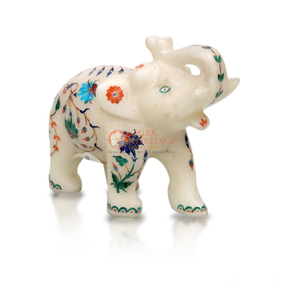 Salute Marble Elephant Statue Inlaid Floral Work