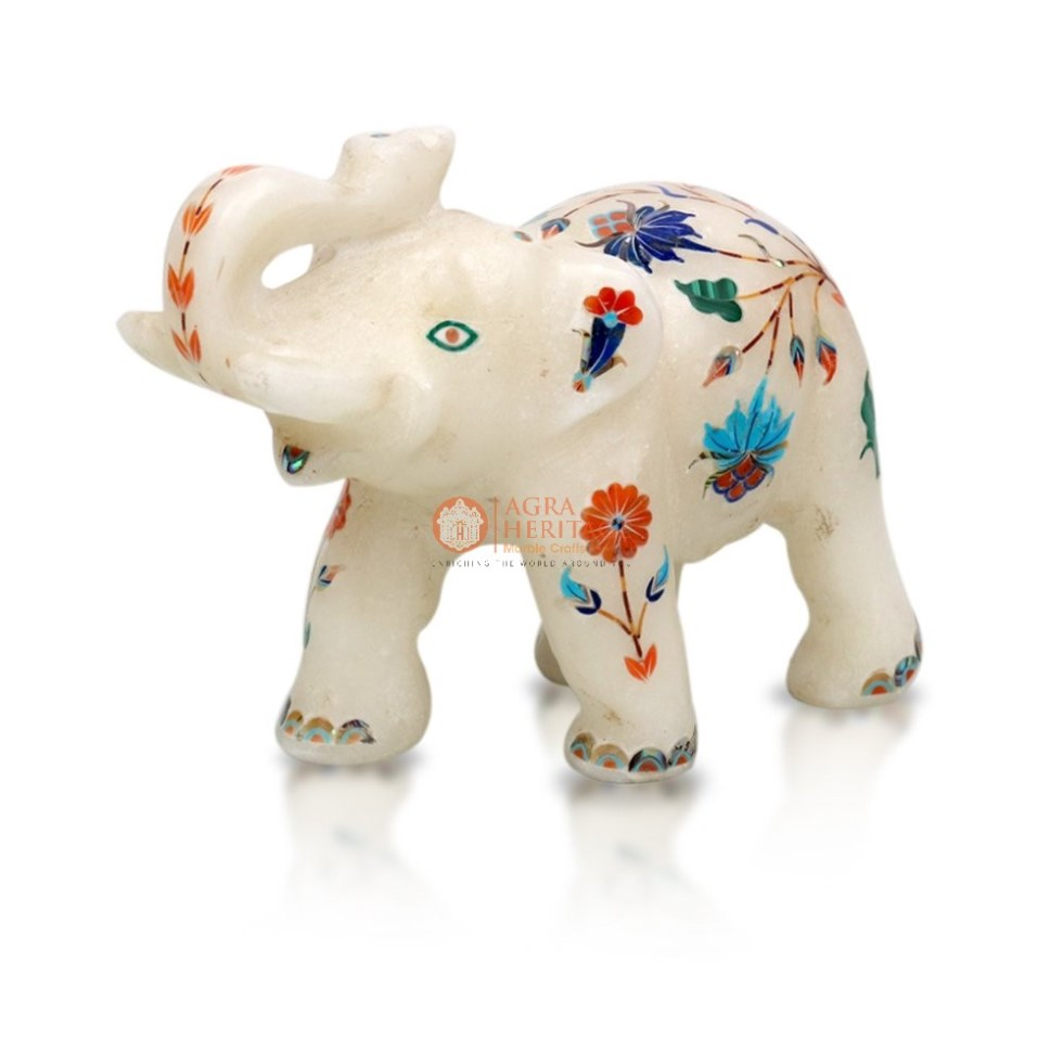 White Marble Elephant Multi Color Stone Floral Art