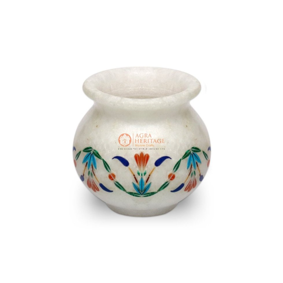 Marble Multi Color Stone Floral Vase Filler Art
