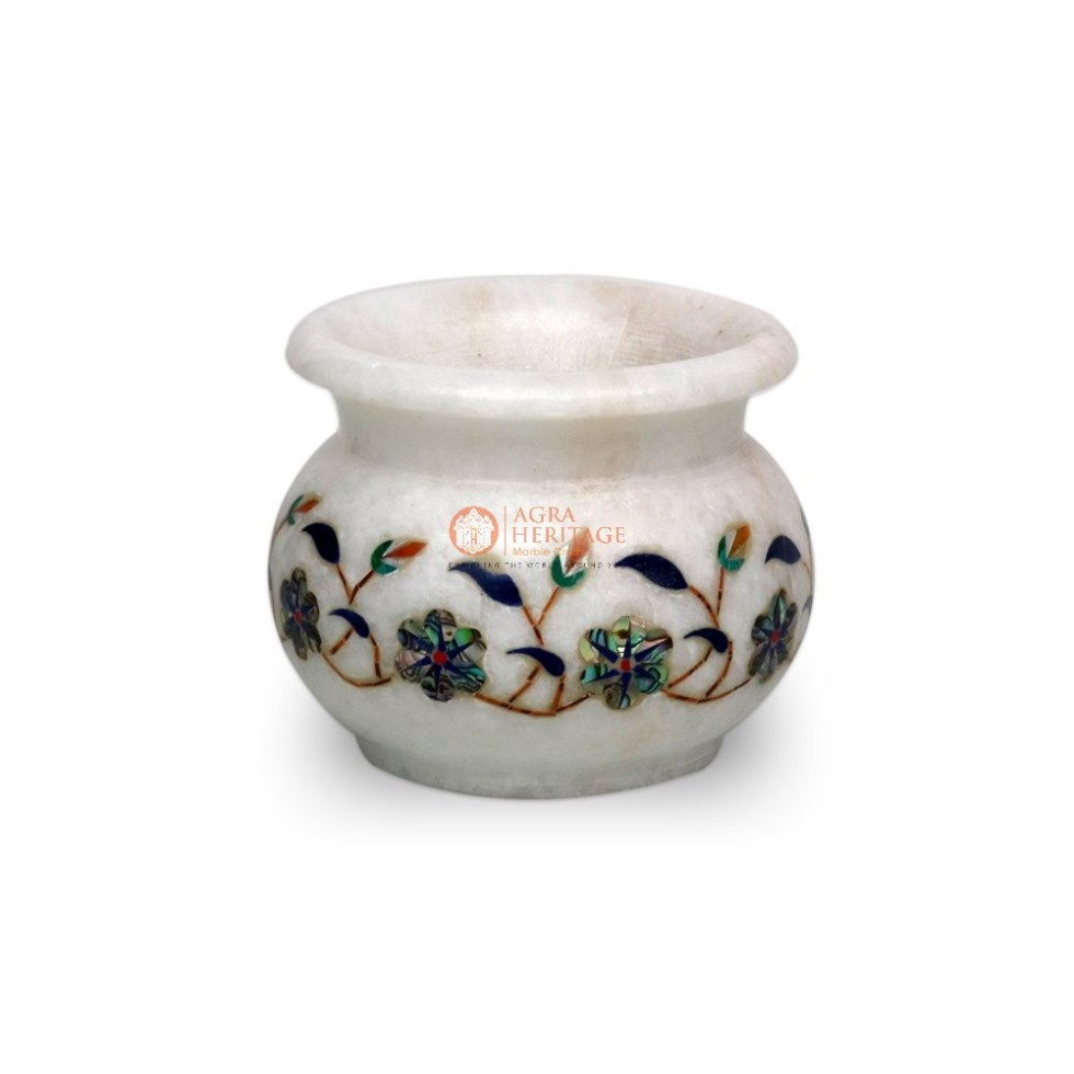 White Marble Pauashell Inlay Floral Vase Decor Art