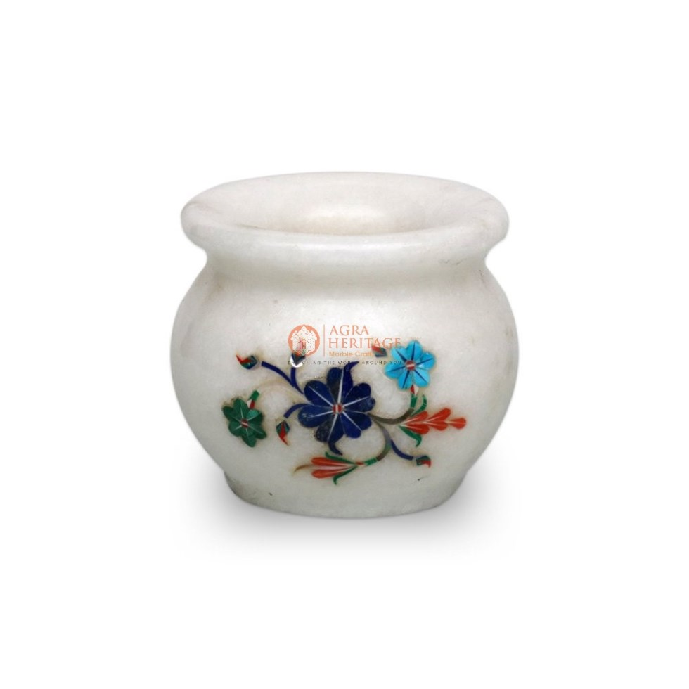 Marble Lapis Inlaid Flower Vase Decoration Art
