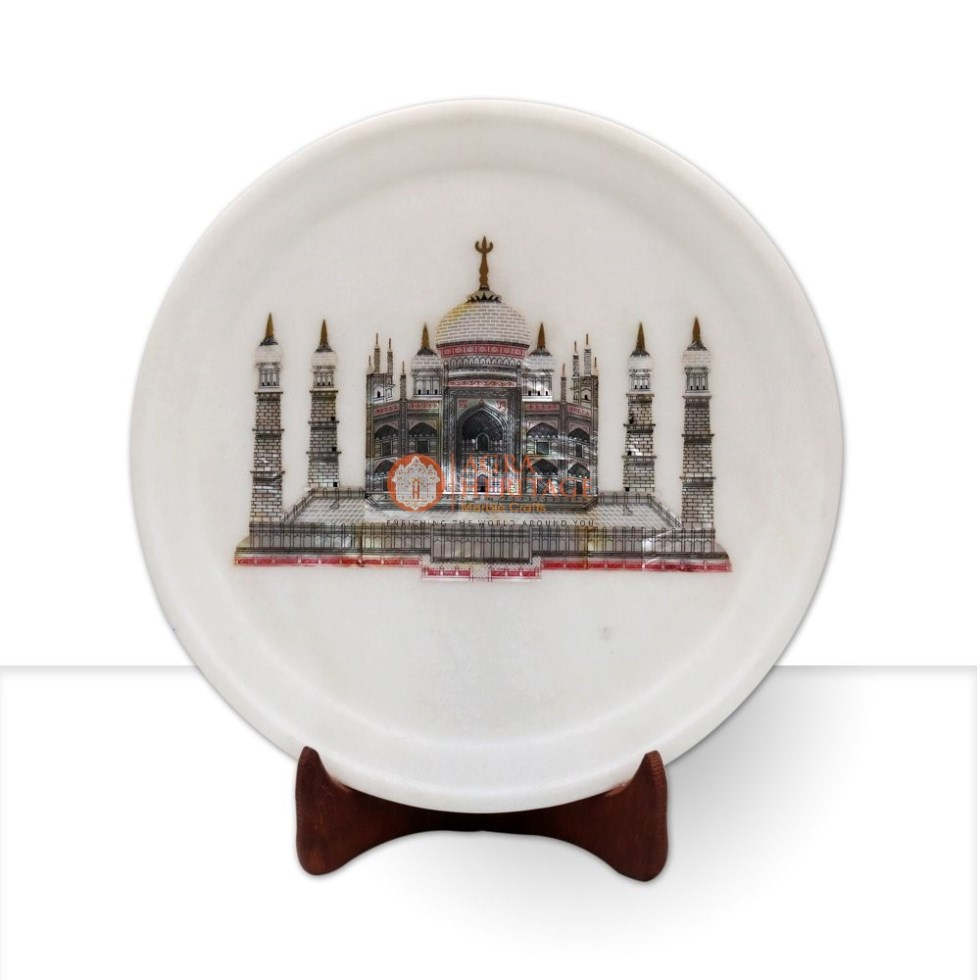 Taj Mahal Art Collectible Handmade Plate Home Deco