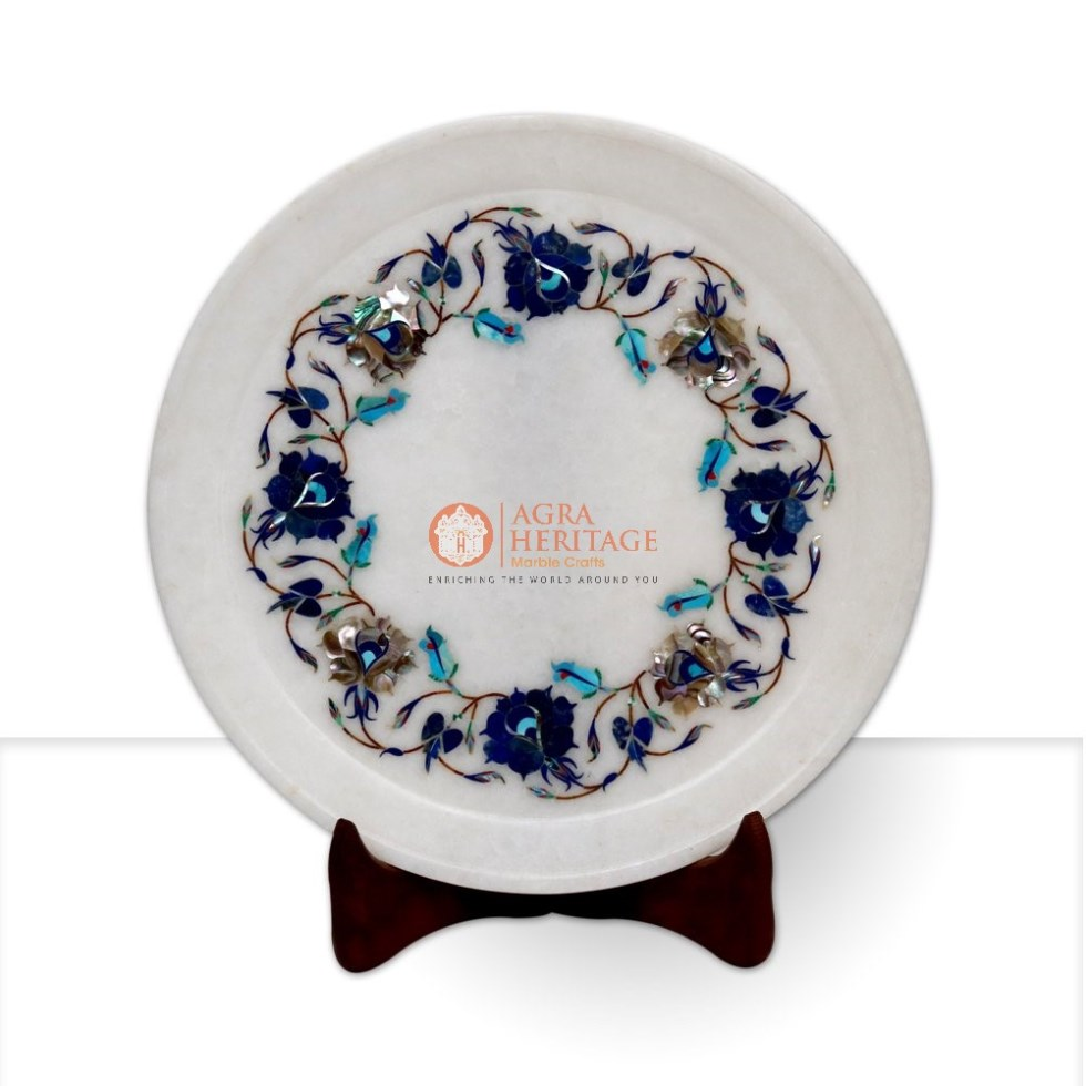 Pauashell Lapis Inlay Floral Work White Plate Art