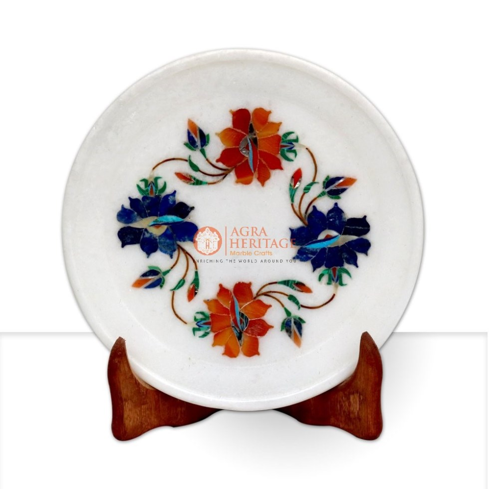 Floral Art Marble Serving Food Plate Decor