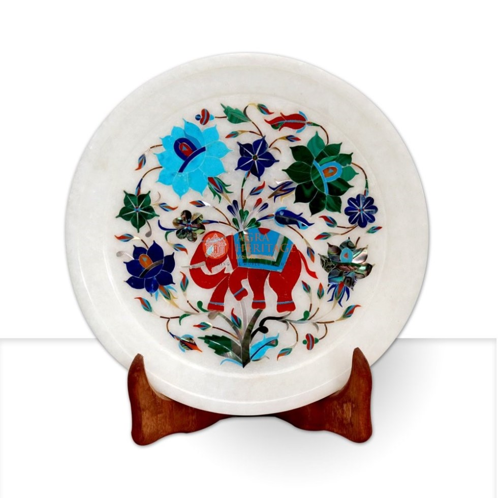 White Marble Elephant Art Floral Serving Plate
