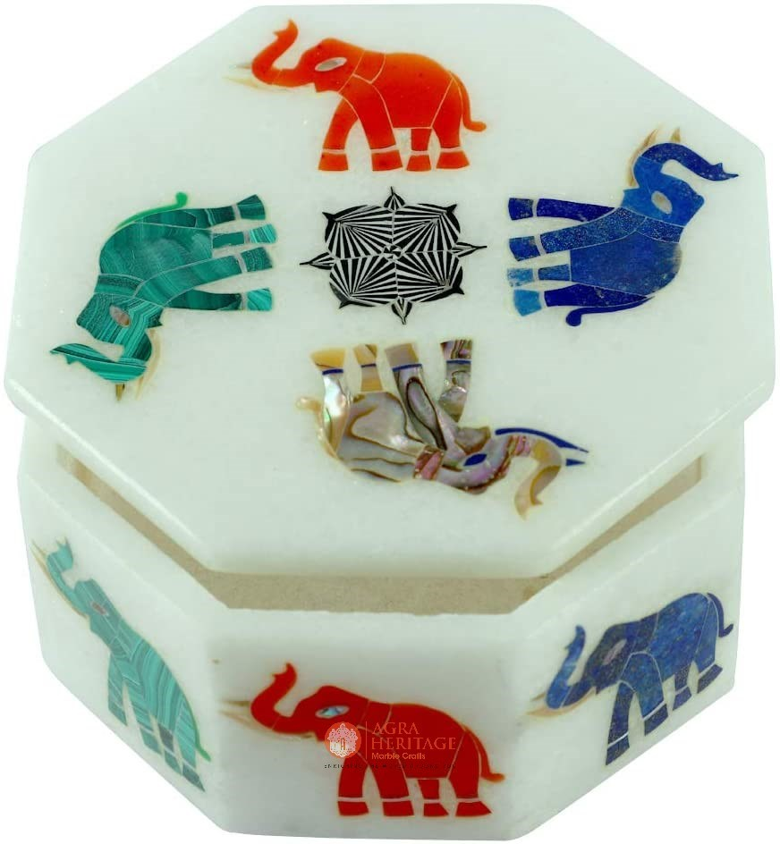 Elephant Semi Precious Art Jewelry Box Decor