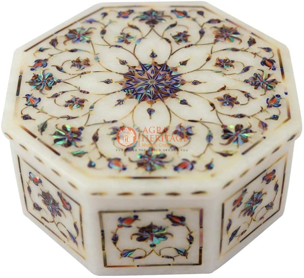 White Marble Jewelry Storage Floral Design Box
