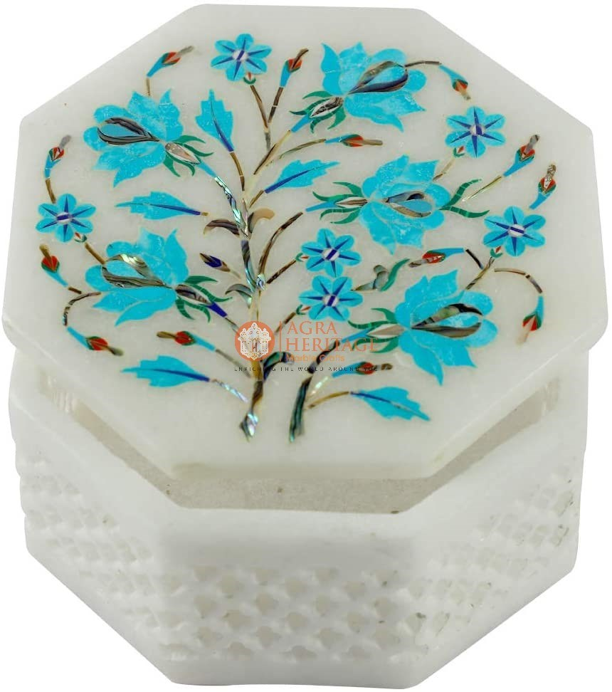 Marble Turquoise Stone Floral Jewelry Box Art Deco