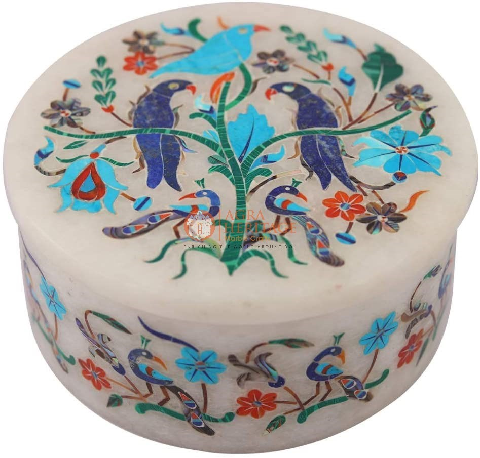 Lapis Peacock Fine Art Vintage Jewelry Box Decor