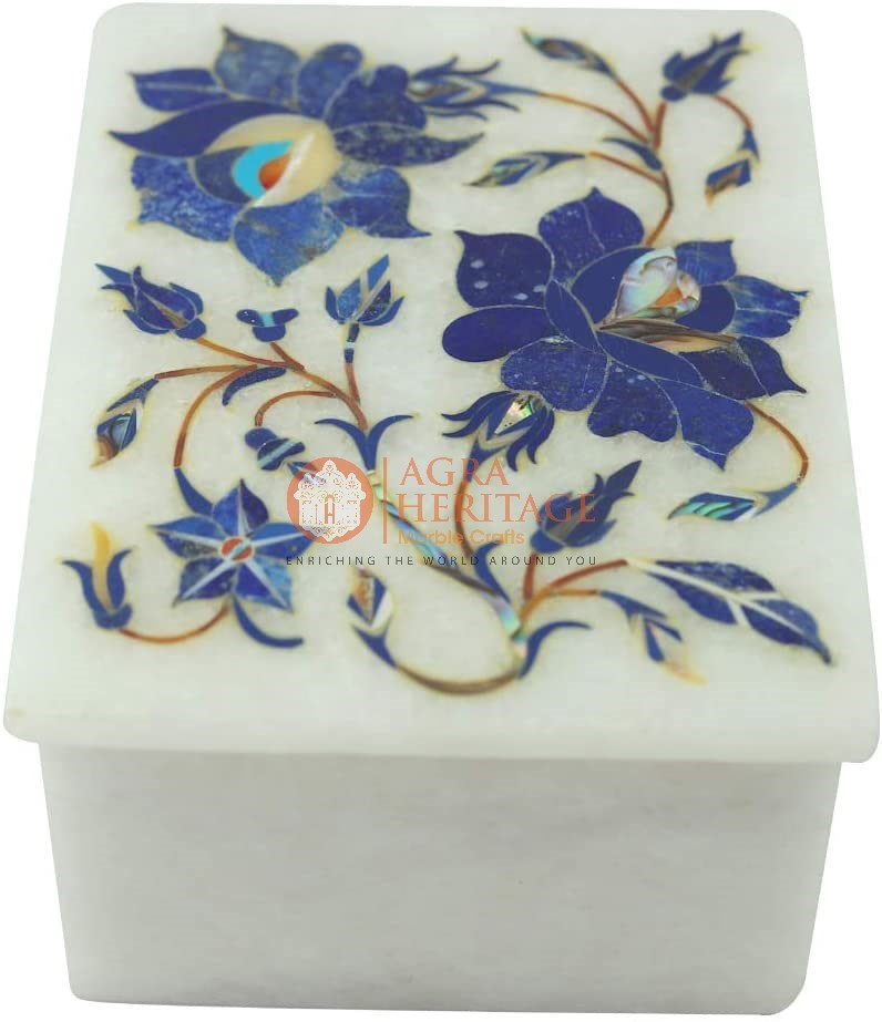 Lapis Stone Floral Jewelry Keepsake Box Decoration