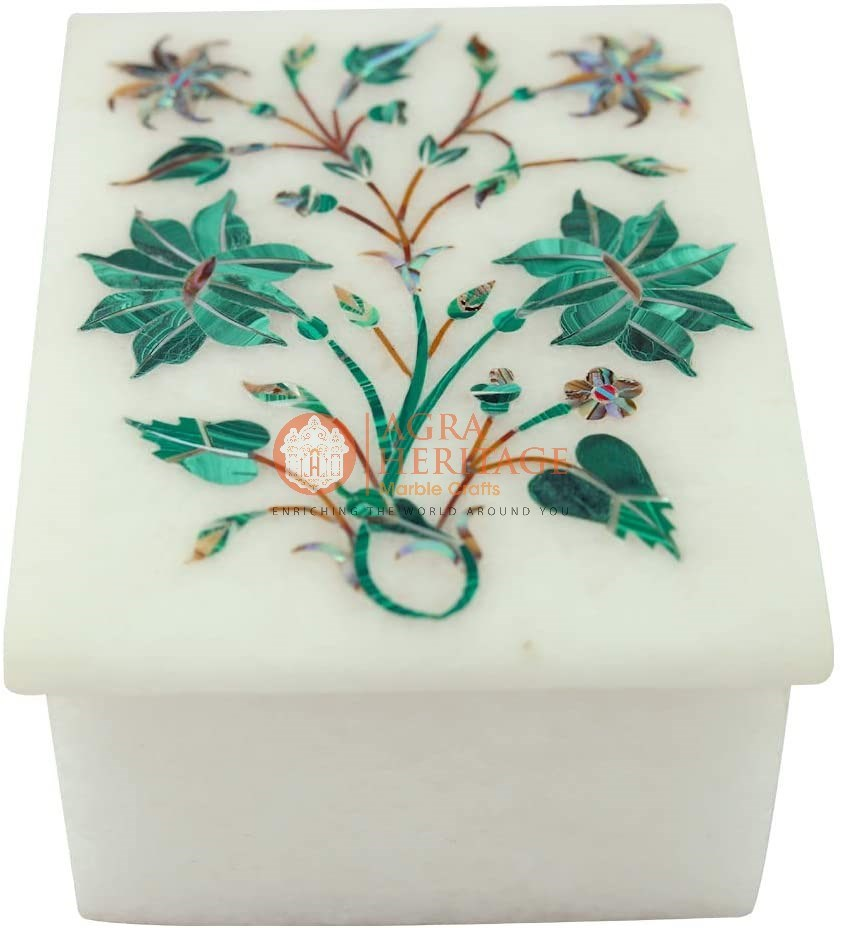 White Marble Costume Jewelry Box Precious Inlaid