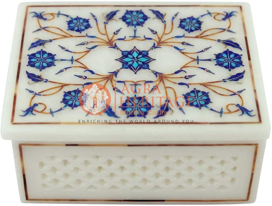 Marble Lapis Floral Inlay Jewelry Box Decor