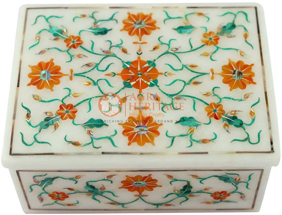 Carnelian Malachite Floral Art Jewelry Box Decor
