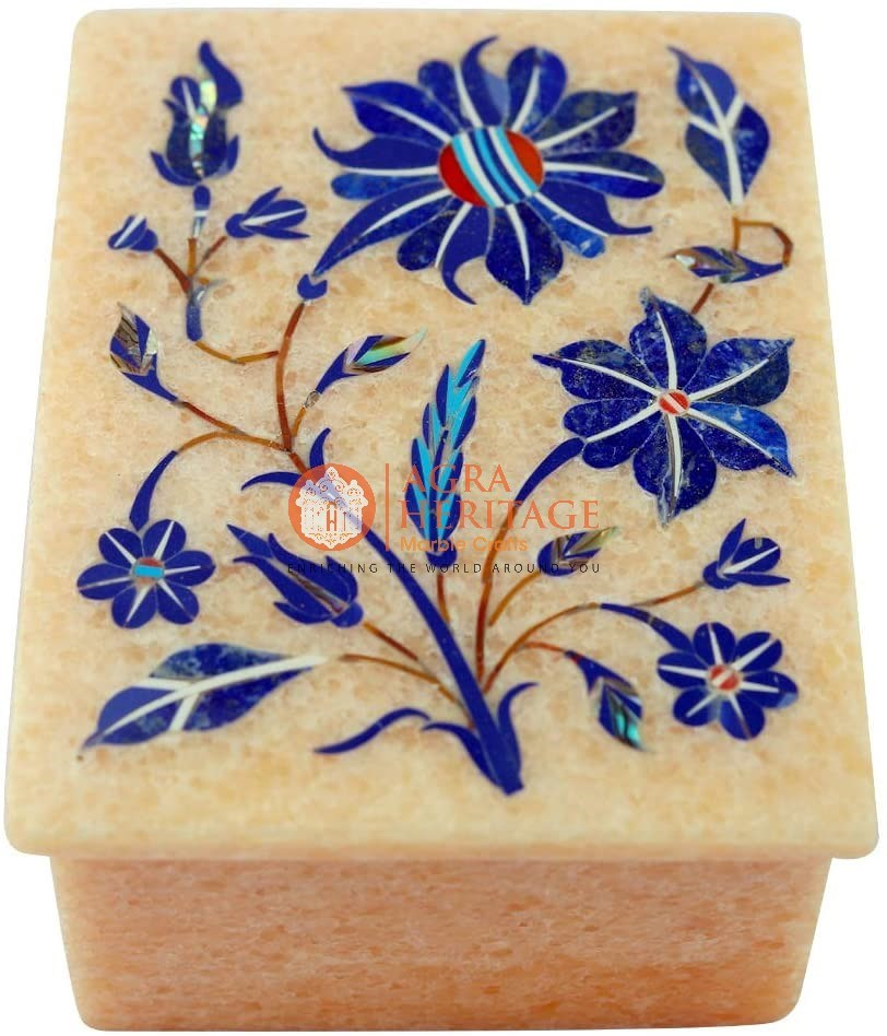 Marble Lapis Floral Inlay Design Jewelry Box Decor