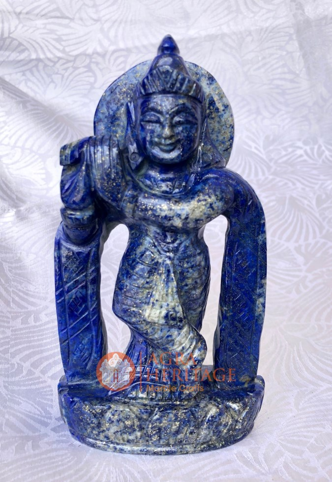 Lapis Krishna Hand Curved Collectible Statue Decor