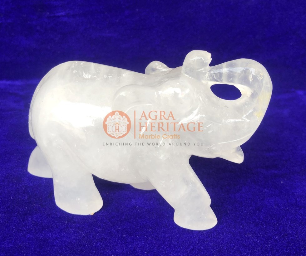 White Quartz Elephant Crystal Sculpture Home Deco