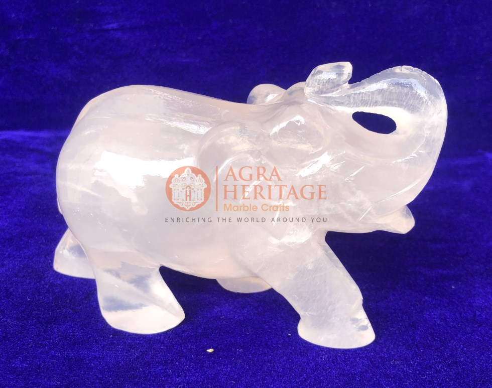 Crystal Rose Quartz Elephant Handmade Gift Decor