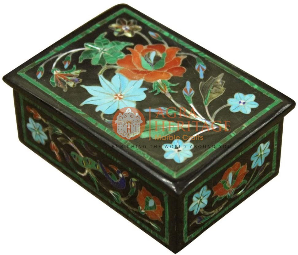 Black Vintage Box Carnelian Floral Inlay Art Decor