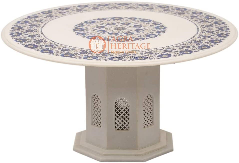 White Marble Top Coffee Table Lapis Floral Inlay