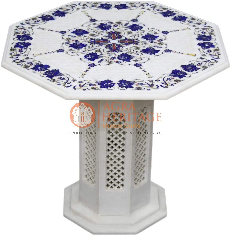 Marble Top Center Table Lapis Inlay Floral Design