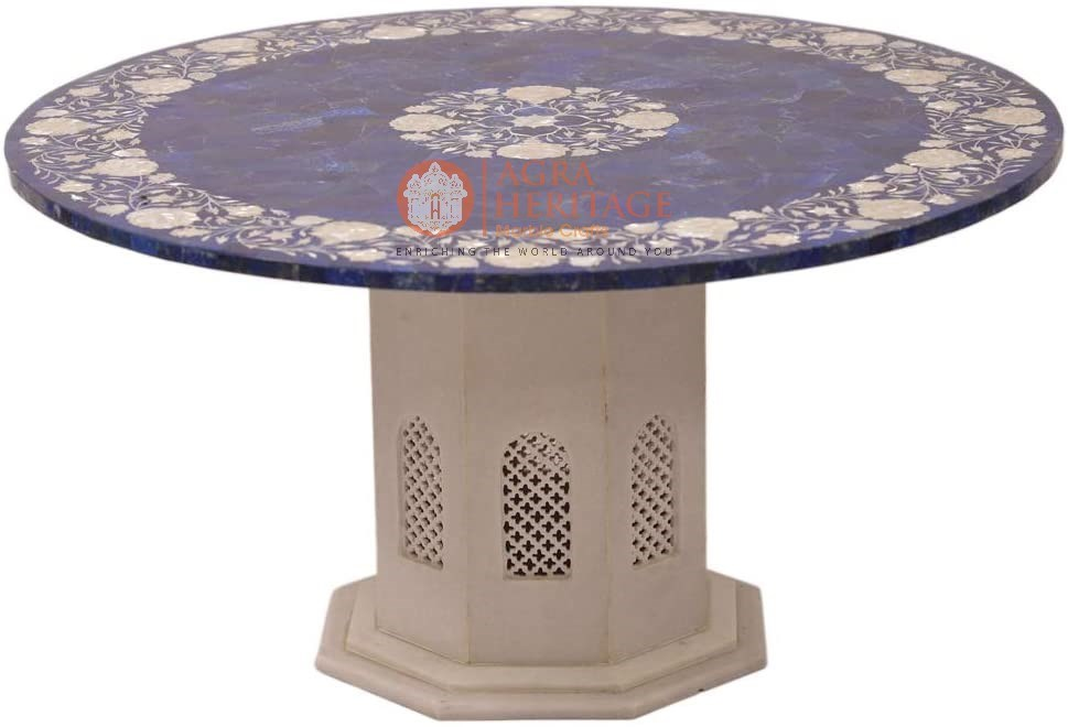 Marble Top Center Table Mop Real Floral Art Gift