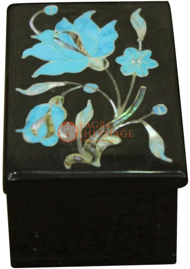 Marble Jewelry Box Turquois Inlay Floral Gift Deco