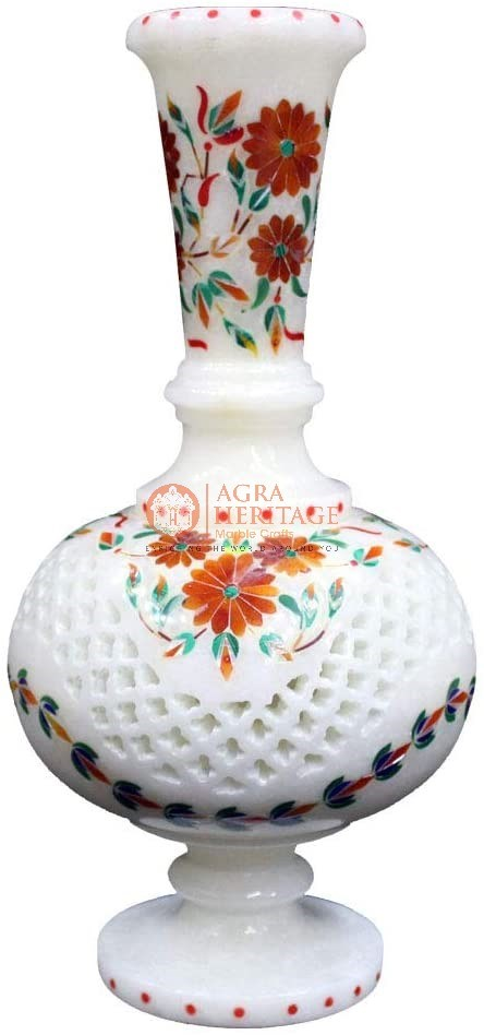 Marble White Flower Vase Carnelian Inlaid Art Deco