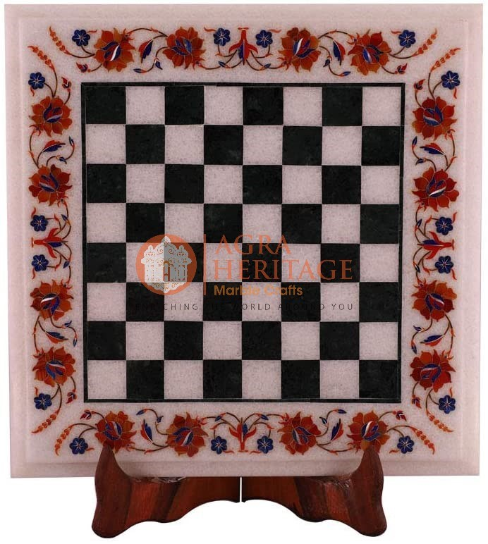 White Marble Chess Coffee Top Table Inlay Art Deco