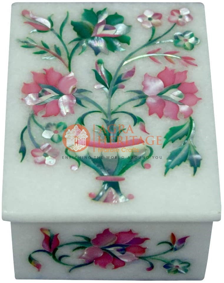 White Marble Jewelry Lidded Modern Box Floral Arts