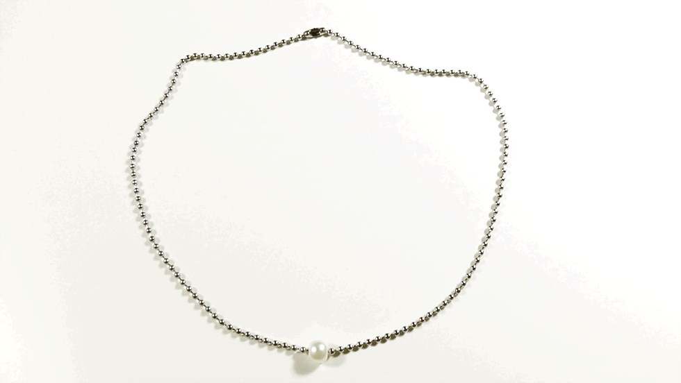 White Pearl Surgical Stainless Steel Ball Chain Ne