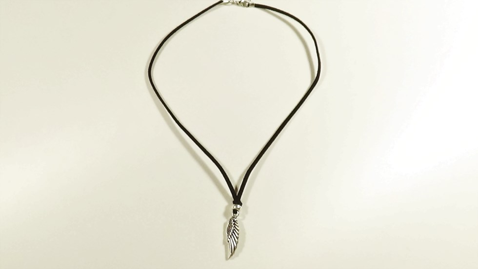 Wing Pendant Necklace for Men, Black Suede, Silver
