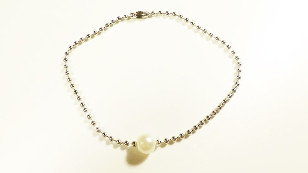 White Pearl Surgical Stainless Steel Ball Chain Br