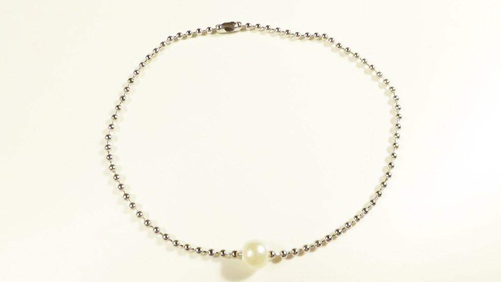 White Pearl Surgical Stainless Steel Ball Chain An