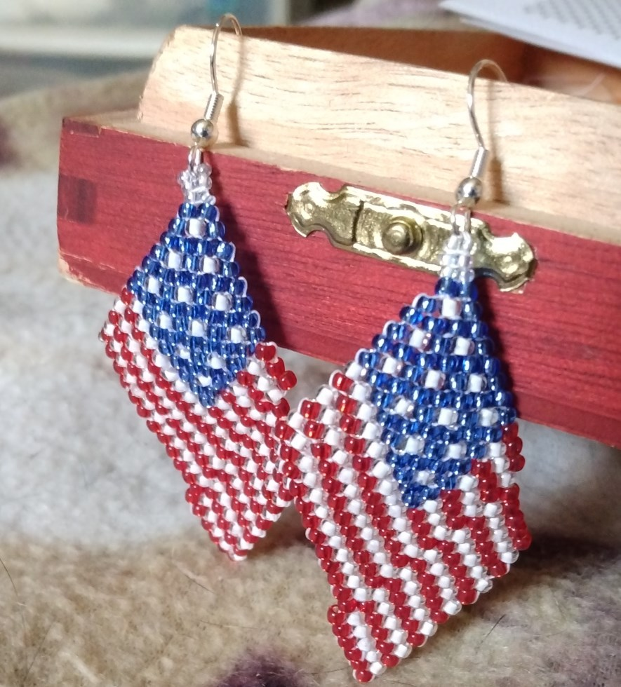 Memorial Day 4th of July Beaded American Flag Earr