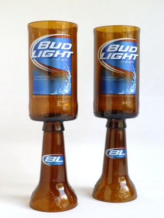 Bud Light Beer Bottle Goblet Drinking Glasses 2