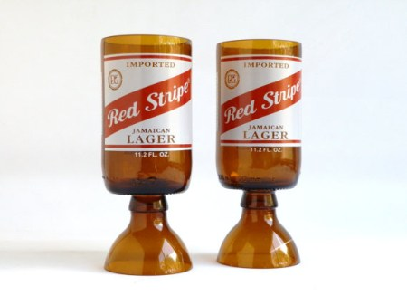 Red Stripe Beer Bottle Goblet Drinking Glasses 2