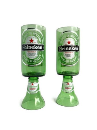 Heineken Beer Bottle Goblet Drinking Glasses 2