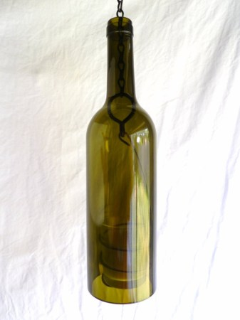 Olive Glass Wine Bottle Hanging Candle Lantern