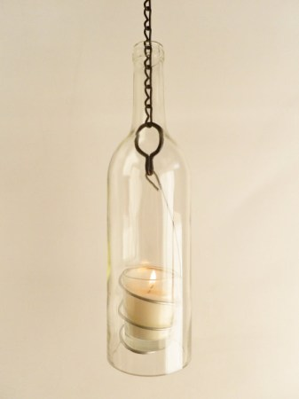 Clear Glass Wine Bottle Hanging Candle Lantern
