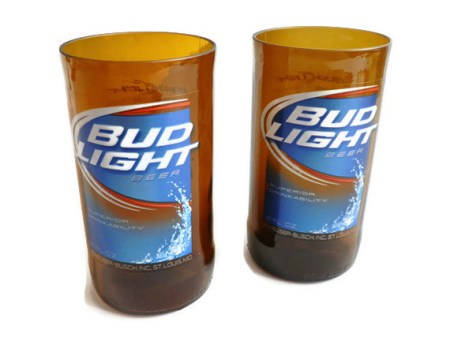 Bud Light Beer Bottle Tumbler Drinking Glasses