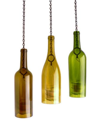 Triple wine bottle hanging candle holder lanterns by bomolutra for Champagne bottle candle holders