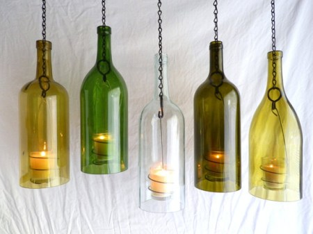 clear glass big wine bottle hanging candle lantern