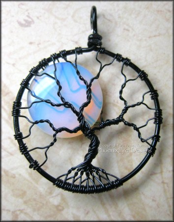 Opalite Moonstone Full Moon Tree of Life Pendant