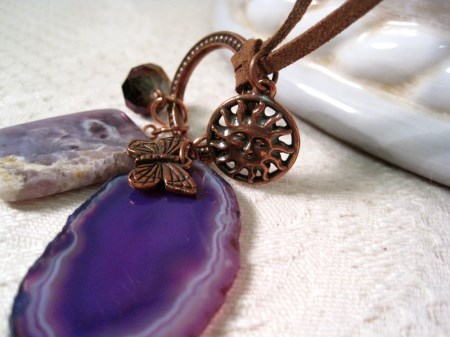 Amethyst Agate Charm Necklace