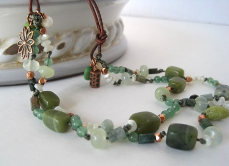 Green Mixed Stone Necklace