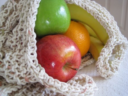 Handknit Natural Cotton Market Bag