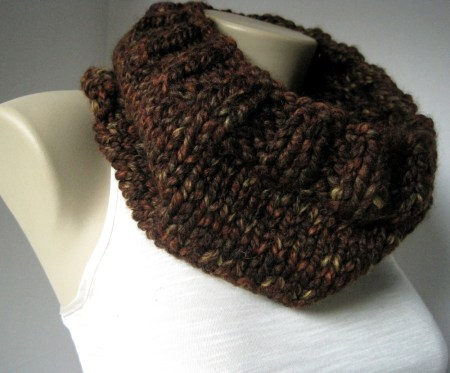 Handknitted Brown Tweed Cowl