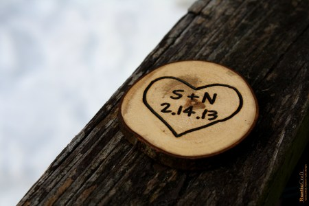 Personalized Heart Magnet - Rustic Tree Branch