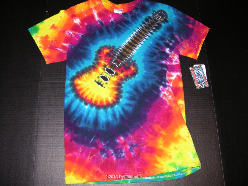 Adult Small Electric Guitar tie-dye t-shirt
