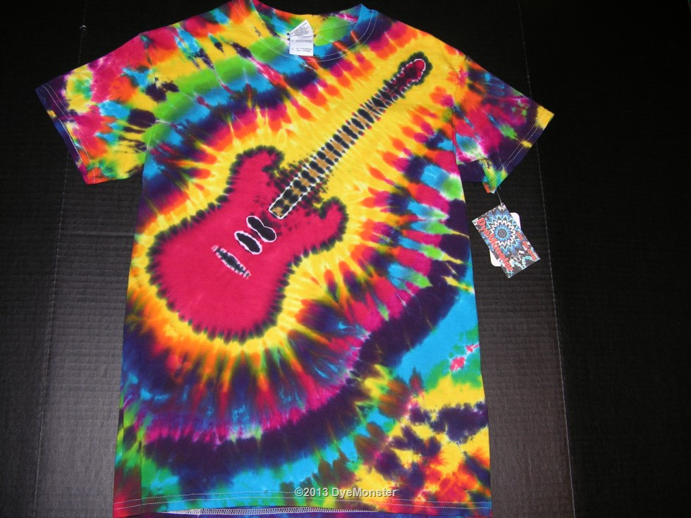 Adult Small Red Electric Guitar tie-dye T-shirt